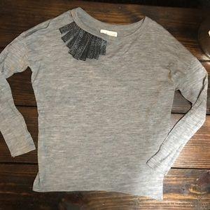 Zara basic tee shirt long sleeve embellished top.